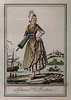 Craftswoman from Bordeaux, by Jacques Grasset de Saint Sauveur, 1757-1810, from the 'Gens du Petit Peuple', late 18th century, in the Musee d'Aquitaine, Cours Pasteur, Bordeaux, Aquitaine, France. Picture by Manuel Cohen