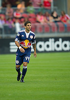 August 21 2010 New York Red Bulls defender Carlos Mendes #44 in action during a game between the New York Red Bulls and Toronto FC at BMO Field in Toronto..The New York Red Bulls won 4-1