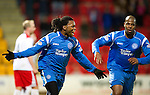 St Johnstone v Inverness Caley Thistle....02.01.11  .Collin Samuel celebrates his goal with Michael Duberry.Picture by Graeme Hart..Copyright Perthshire Picture Agency.Tel: 01738 623350  Mobile: 07990 594431