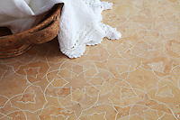 Alcala, a handmade mosaic shown in honed Jerusalem Gold, is part of the Miraflores Collection by Paul Schatz for New Ravenna.<br />