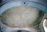 AZ: Tucson--San Xavier Del Bac, Interior Ceiling of Nave viewed from the sanctuary.  Photo '96.