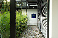 A pebble walkway with an adjacent bed of zebra grass  creates a distincly Japanese feel