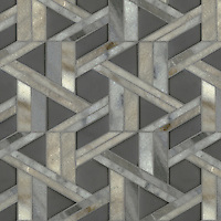 Hector, a stone waterjet mosaic, shown in Cashmere honed and Warm Grey glass honed, is part of the Altimetry Collection for New Ravenna.