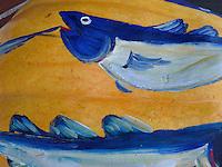 Closeup of salmon painted on pumpkin, Damariscotta Maine pumpkin festival fall 2010
