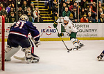 20 January 2017: University of Vermont Catamount Forward Liam Coughlin, a Sophomore from South Boston, MA, in second period action against the University of Connecticut Huskies at Gutterson Fieldhouse in Burlington, Vermont. The Catamounts lead throughout the game to defeat the Huskies 5-4 in Hockey East play. Mandatory Credit: Ed Wolfstein Photo *** RAW (NEF) Image File Available ***