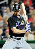 New York Mets first baseman Daniel Murphy (28) bats in the ninth inning against Washington Nationals at Nationals Park in Washington, D.C. on Friday, July 29, 2011.  The Mets won the game 8 - 5..Credit: Ron Sachs / CNP.(RESTRICTION: NO New York or New Jersey Newspapers or newspapers within a 75 mile radius of New York City)