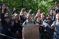 Moscow, Russia, 15/05/2012..Protesters vote at an emergency assembly in Chistiye Prudy, or Clean Ponds, as a Moscow court ordered the eviction of some 200 opposition activists who have set up camp in the city centre park.