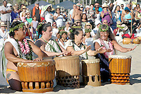 Members from Halau O Lilinoe play drums during the 2011 World Festival of Sacred Music Opening at Santa Monica Beach on Saturday, October 1, 2011.