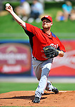 28 February 2011: Washington Nationals' pitcher Chad Gaudin warms up prior to a Spring Training game against the New York Mets at Digital Domain Park in Port St. Lucie, Florida. The Nationals defeated the Mets 9-3 in Grapefruit League action. Mandatory Credit: Ed Wolfstein Photo