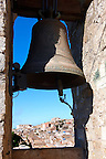 Bell of Torre de Re Frederico 2nd, &Eacute;rice Duomo [Erice cathedral], Sicily stock photos.