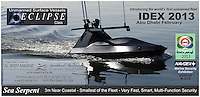 BNPS.co.uk (01202 558833).Pic: AlSeer/BNPS..***Please Use Full Byline***..Sea Serpent - The smallest 'stealth' boat in the fleet. Perfect for guarding your superyacht...If you see one of these floating menacingly towards you, the advice is to get far away from it as quickly as possible...This daunting 35ft vessel belongs to the world's first fleet of unmanned 'robo-boats', designed to thwart pirates and take on dangerous covert missions without endangering the lives of crew...Looking like a cross between a miniature Navy warship and a stealth bomber, they are the waterborne equivalent of the unmanned drone planes used by the UK and US militaries in the fight against terror...The Eclipse unmanned surveillance vessels can operate 24 hours a day, travel at 60mph and can be kitted out with enough weaponry to blow adversaries out of the.water...The cutting edge boats boast state-of-the-art technology that allows it to undertake search and rescue missions or patrol dangerous waters without requiring crew...They have a range of up to 600 miles and can loiter at low speeds for 10 days without refuelling...Powered by two 500 horsepower water jets made by Rolls Royse, the Eclipse range also boast £650,000 giroscopic HD cameras which take pictures of their surroundings, analysing them for potential threats and and relaying.information back to a manned control station.
