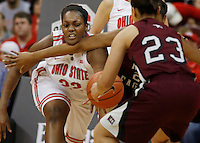 Ohio State's Darryce Moore (22) tries to get a hand on the ball during a women's basketball game between the Ohio State Buckeyes and the North Carolina Central Eagles on December 29, 2013 at Value City Arena. (Columbus Dispatch photo by Fred Squillante)