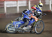 Heat 2 - Henning Bager (red), Lewis Bridger - Arena Essex Hammers vs Eastbourne Eagles - Sky Sports Elite League 'B' - 04/10/2006 - MANDATORY CREDIT: Gavin Ellis/TGSPHOTO