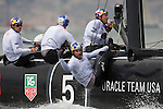 Oracle Team USA Coutts in the first fleet race of the  America's Cup World Series, San Francisco. 23/8/2012