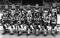 Roller Derby team photo of the Bay Bombers, including Charlie O'connell #40, and Joan Weston#38..<br />(1971 photo/Ron Riesterer)