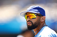4 May 2011: #27 Matt Kemp wearing Oakley sunglasses while the Cubs defeated the Dodgers 5-1 during a Major League Baseball game at Dodger Stadium in Los Angeles, California.  Dodgers players are wearing Brooklyn Dodger 1940's throwback jersey uniforms and the Cubs are also wearing throwback retro jersey uniforms. **Editorial Use Only**