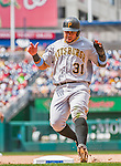 21 June 2015: Pittsburgh Pirates outfielder Jose Tabata in action against the Washington Nationals at Nationals Park in Washington, DC. The Nationals defeated the Pirates 9-2 to sweep their 3-game weekend series, and improve their record to 37-33. Mandatory Credit: Ed Wolfstein Photo *** RAW (NEF) Image File Available ***
