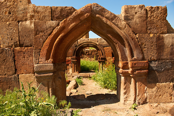 Ruined Armenian Gothic doorway. The Gothic  pointed arches in Ani pre date the European Gothic and are thought to be an influence for Western European Gothic. Ani archaelogical site on the Ancient Silk Road , Kars , Anatolia, Turkey