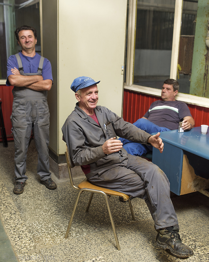 DITA factory workers take a break between shifts.