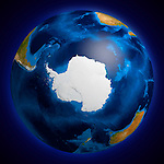 View of the Earth globe from space showing the Antarctic region. Isolated on dark blue background.