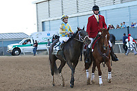 HOT SPRINGS, AR - April 15: Classic Empire #2 and jockey Julien Leparoux are escorted back to the winning connections after the Arkansas Derby at Oaklawn Park on April 15, 2017 in Hot Springs, AR. (Photo by Ciara Bowen/Eclipse Sportswire/Getty Images)