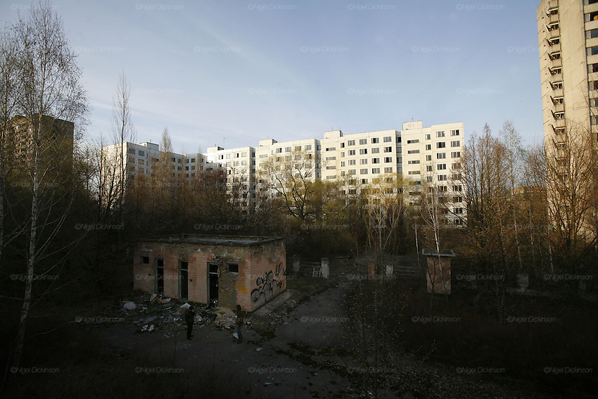 Chernobyl, Exclusion Zone, Ukraine. Pripyat Town built 15 years before the Chernobyl reactor fire. The whole town was evacuated shortly after. The  Chernobyl Reactor, towns, plant and environs just before the 20th anniversary of the nuclear disaster.