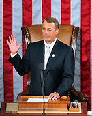 United States House Speaker John Boehner (Republican of Ohio) is sworn-in by U.S. Representative John Dingell (Democrat of Michigan), not pictures, at the opening of the 112th Congress in the U.S. Capitol in Washington, D.C. on Wednesday, January 5, 2011..Credit: Ron Sachs / CNP.(RESTRICTION: NO New York or New Jersey Newspapers or newspapers within a 75 mile radius of New York City)