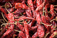 Sun-dried chillies on sale in Ping An, Guilin, China