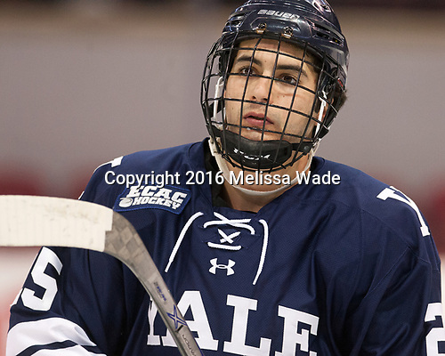 Chris Izmirlian (Yale - 25) The Boston University Terriers defeated the visiting Yale University Bulldogs 5-2 on Tuesday, December 13, 2016, at the Agganis Arena in Boston, Massachusetts.