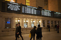 The schedule board of Metro North in Grand Central Terminal announces the resumption of service on the Harlem line on Wednesday, October 31, 2012. The New York subway system is still not operating but the Metropolitan Transit Authority has buses up and running and is not collecting fares. The subway will begin operating with limited service tomorrow. (© Richard B. Levine)