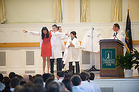 White Coat Ceremony, class of 2015. Marisa Liu, Stephen Leffler, M.D., Tania Bertsch, M.D.