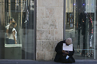 Israeli man begging for money in the center of Jerusalem, July 02, 2013.  Photo by Oren Nahshon