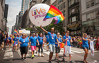 AT&T workers in the 44th annual Lesbian, Gay, Bisexual and Transgender Pride Parade on Fifth Avenue in New York on Sunday, June 30, 2013. The turn out for the parade was especially large with the recent Supreme Court decision overturning the Defense of Marriage Act (DOMA) and California's Proposition 8.  (© Richard B. Levine)