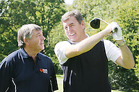 NO REPRO FEE. 27/9/2010. SBHI GOLF CLASSIC. L-R. Babs Keating and Packie Bonner are pictured teeing off as they aim for a hole in one at the Annual Packie Bonner Spina Bifida Hydrocephalus Ireland Golf Classic which took place in Palmerstown House Estate, at Johnstown, County Kildare. Pictrure James Horan/Collins