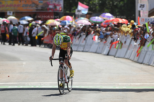 June 6, 2013, Sawah Lunto, Indonesia : <br /> Spanish Oscar Pujol Munoz of Polygon Sweet Nice Cycling Team disappointed because it failed to win in stage 5  Tour de Singkarak 2013. Start from Sawahlunto to Muara Labuh. Mileage of 138.5 km. Oscar finished in 3rd place.<br /> (Photo by Robertus Pudyanto/AFLO).