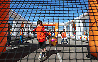 Young football fans take part in a community day outside Bloomfield Road<br /> <br /> Photographer Alex Dodd/CameraSport<br /> <br /> The EFL Sky Bet League Two - Blackpool v Cheltenham Town - Saturday 22nd April 2017 - Bloomfield Road - Blackpool<br /> <br /> World Copyright &copy; 2017 CameraSport. All rights reserved. 43 Linden Ave. Countesthorpe. Leicester. England. LE8 5PG - Tel: +44 (0) 116 277 4147 - admin@camerasport.com - www.camerasport.com