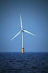 Nederland,Noordzee / Ijmuiden 09-08-2010 Het windmolenpark prinses Amalia in de Noordzee  ter hoogte van IJmuiden. Het park ligt 23 kilometer uit de kust en telt 60 windturbines. Die kunnen 125.000 huishoudens van duurzame stroom voorzien.Teh Netherlands , Northsee - Offshore Windmill energy Park named princess Amalia near the Dutch coast  . Foto: Gerard Til / Hollandse Hoogte
