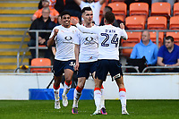 Luton Town's Dan Potts celebrates scoring his sides first goal <br /> <br /> Photographer Richard Martin-Roberts/CameraSport<br /> <br /> The EFL Sky Bet League Two Play-Off Semi Final First Leg - Blackpool v Luton Town - Sunday May 14th 2017 - Bloomfield Road - Blackpool<br /> <br /> World Copyright &copy; 2017 CameraSport. All rights reserved. 43 Linden Ave. Countesthorpe. Leicester. England. LE8 5PG - Tel: +44 (0) 116 277 4147 - admin@camerasport.com - www.camerasport.com