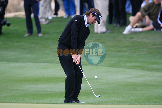 Bubba Watson (USA) in action on the 12th green during the Semi-Final Matches on Day 4 of the Accenture Match Play Championship from The Ritz-Carlton Golf Club, Dove Mountain, Saturday 26th February 2011. (Photo Eoin Clarke/golffile.ie)