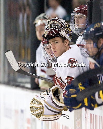 Chris Venti (BC - 30) - The Boston College Eagles defeated the Merrimack College Warriors 5-3 to win the Hockey East championship for the tenth time on Saturday, March 19, 2011, at TD Garden in Boston, Massachusetts.
