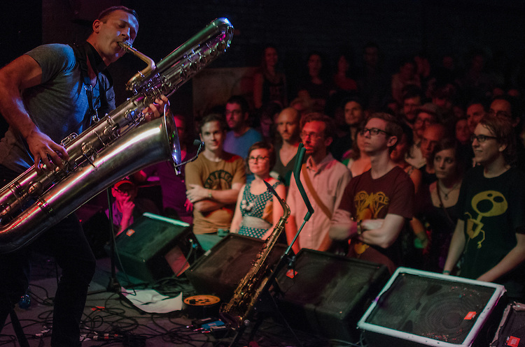 Colin Stetson performed on the bass saxophone at The Pour House during the Hopscotch Festival. Raleigh, NC. September 8, 2012.
