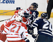 Andy Miele (Miami - 17), Brett Kostolansky (UNH - 15) - The University of New Hampshire Wildcats defeated the Miami University RedHawks 3-1 (EN) in their NCAA Northeast Regional Semi-Final on Saturday, March 26, 2011, at Verizon Wireless Arena in Manchester, New Hampshire.
