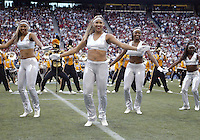 September 17, 2005:  Grambling State University band and dance team members entertained the crowd during the first quarter. Grambling State lost 48-7 to Washington State University at Quest Field in Seattle, WA.