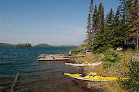 Kayaks beached at an old fishing camp at Isle Royale National Park.