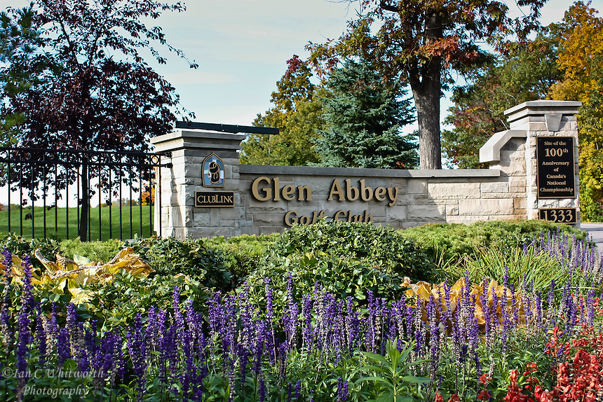 View of the entrance to the Glen Abbey Golf Club in Oakville