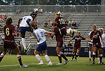 15 September 2011: Duke's Natasha Anasi (4) heads home the second goal. The Duke University Blue Devils defeated the College of Charleston Cougars 3-0 at Koskinen Stadium in Durham, North Carolina in an NCAA Division I Women's Soccer game.