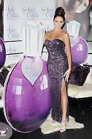 Amy Childs.The photocall to launch her debut fragrance in collaboration with Jigsaw, Aura bar & nightclub, London, England..August 15th, 2012.full length purple strapless dress slit split sequins sequined hair up bun silver sandals shoes .CAP/CAN.©Can Nguyen/Capital Pictures.