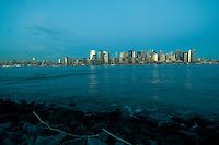 New York, New York CIty skyline from Jersey City, New Jersey, Dusk