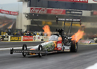 Feb 10, 2017; Pomona, CA, USA; NHRA top fuel driver Terry McMillen during qualifying for the Winternationals at Auto Club Raceway at Pomona. Mandatory Credit: Mark J. Rebilas-USA TODAY Sports