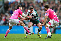 Freddie Burns of Leicester Tigers takes on the Stade Francais defence. European Rugby Champions Cup quarter final, between Leicester Tigers and Stade Francais on April 10, 2016 at Welford Road in Leicester, England. Photo by: Patrick Khachfe / JMP